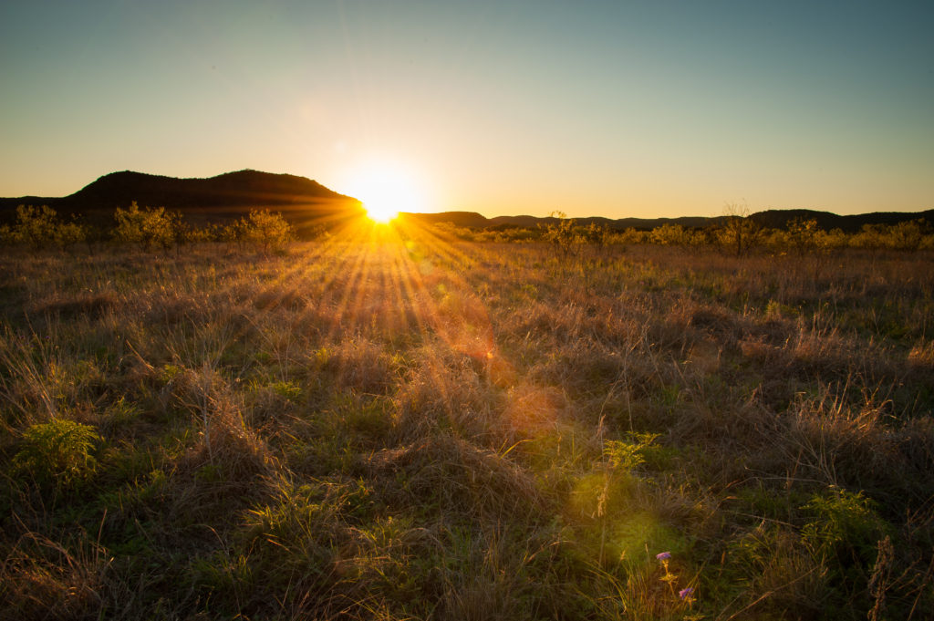 Beautiful sunset over acreage for sale in West Texas