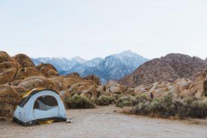 A tent in a beautiful desert landscape